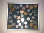 Naše práce - zarámované mince, samet, kovový rámeček